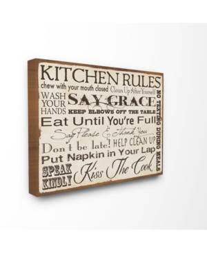 """Stupell Industries Home Decor Kitchen Rules Creme Typography Kitchen Canvas Wall Art, 24"""" x 30""""  - Multi"""