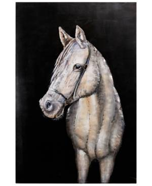 "Empire Art Direct White horse Mixed Media Iron Hand Painted Dimensional Wall Art, 48"" x 32"" x 2.2""  - Multi"