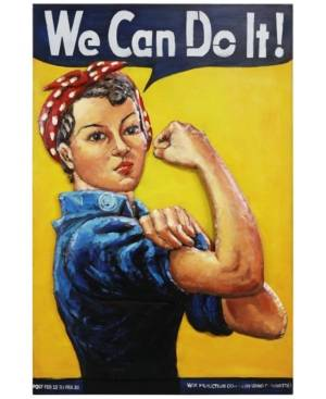 "Empire Art Direct We can do it Mixed Media Iron Hand Painted Dimensional Wall Art, 48"" x 32"" x 2.8""  - Blue"