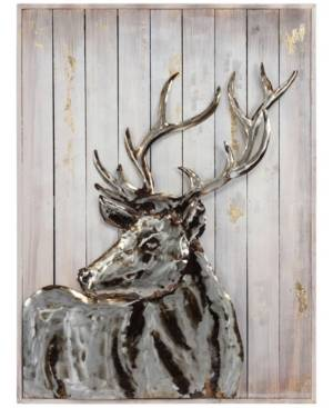 "Empire Art Direct Deer 2Handed Painted Iron Wall sculpture on Wooden Wall Art, 40"" x 30"" x 2.8""  - Multi"