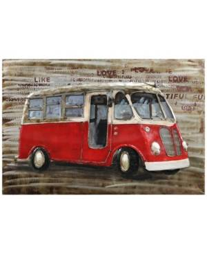"Empire Art Direct Red bus Mixed Media Iron Hand Painted Dimensional Wall Art, 32"" x 48"" x 2.4""  - Brown"