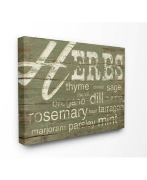 """Stupell Industries Home Decor Herbs and Words Green Kitchen Cavnas Wall Art, 16"""" x 20""""  - Multi"""