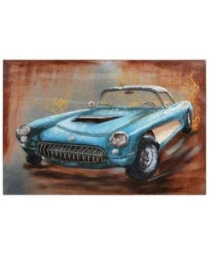 "Empire Art Direct Blue car Mixed Media Iron Hand Painted Dimensional Wall Art, 32"" x 48"" x 2.4""  - Multi"