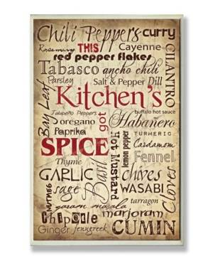 """Stupell Industries Home Decor Kitchen Spice Typography Wall Plaque Art, 12.5"""" x 18.5""""  - Multi"""