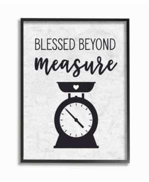 """Stupell Industries Home Decor Collection Blessed Beyond Measure Kitchen Scale Subtle Birch Typography Framed Giclee Art 11"""" L x 1.5"""" W x 14"""" H  - Multi"""