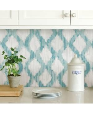 Brewster Home Fashions Teal Floating Trellis Peel And Stick Wallpaper  - Teal