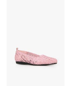 All Black Swirl Woven Women's Flat Women's Shoes  - Pink