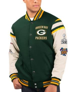 G-iii Sports Men's Green Bay Packers Victory Formation Commemorative Varsity Jacket  - Green/White
