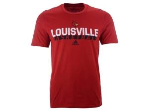 adidas Louisville Cardinals Men's On Court Amplifier T-Shirt  - Red