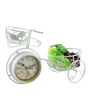 Three Star Metal Rustic Bike Table Clock and Pot Holder  - White