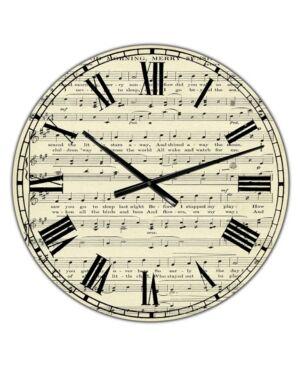 "Designart Goodmorning Merry Sunshine Music Score Large Cottage Wall Clock - 36"" x 28"" x 1""  - Brown"