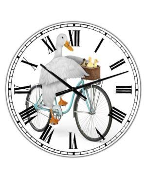 "Designart Riding Bikes Large Modern Wall Clock - 36"" x 28"" x 1""  - Blue"