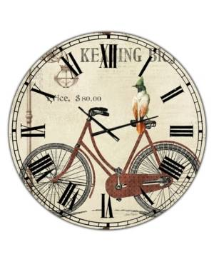 "Designart Bike-Keating Bicycle Large Cottage Wall Clock - 36"" x 28"" x 1""  - Red"