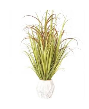 """Vintage Home 36"""" Tall Plastic Grass and Onion Grass Artificial Indoor/ Outdoor Faux Decor in Ceramic Pot  - Green"""