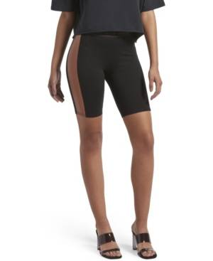 Kendall + Kylie Faux Leather Bike Shorts  - Black