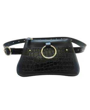 Fashion Focus Accessories Modern Geometric Croco Embossed Belt Bag  - Black/Silver