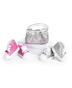 "The Queen's Treasures 18"" Doll Clothes Accessories, Authentically Pink and Silver Glitter Sneakers and a Silver Glitter Handbag Purse, Compatible with American Girl Dolls"