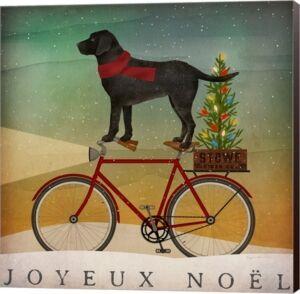 Metaverse Black Lab On Bike Christmas By Ryan Fowler Canvas Art  - Multi