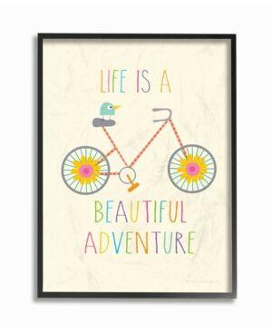 "Stupell Industries Home Decor Life Is A Beautiful Adventure Bird on A Bike Framed Giclee Art, 16"" x 20""  - Multi"