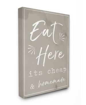 """Stupell Industries Eat Here Home Cooking Beige Canvas Wall Art, 30"""" x 40""""  - Multi"""