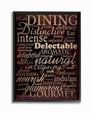 "Stupell Industries Home Decor Dining Words Black Kitchen Framed Giclee Art, 11"" x 14""  - Multi"