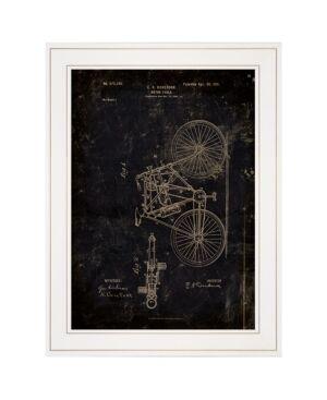 "Trendy Decor 4U Motor Bike Patent I by Cloverfield Co, Ready to hang Framed Print, White Frame, 15"" x 19""  - Multi"