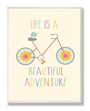 "Stupell Industries Home Decor Life Is A Beautiful Adventure Bird on A Bike Wall Plaque Art, 12.5"" x 18.5""  - Multi"