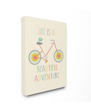 "Stupell Industries Home Decor Life Is A Beautiful Adventure Bird on A Bike Canvas Wall Art, 30"" x 40""  - Multi"