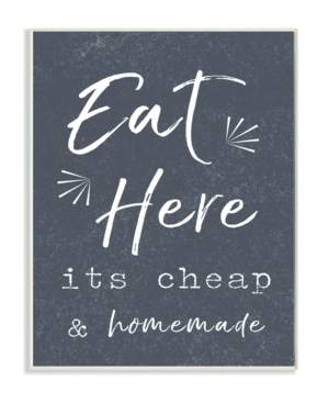 """Stupell Industries Eat Here Home Cooking Navy Wall Plaque Art, 12.5"""" x 18.5""""  - Multi"""
