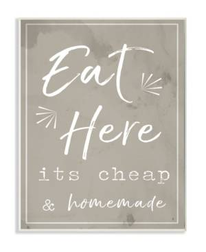 """Stupell Industries Eat Here Home Cooking Beige Wall Plaque Art, 12.5"""" x 18.5""""  - Multi"""