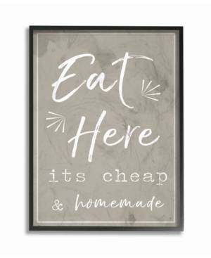 """Stupell Industries Eat Here Home Cooking Beige Framed Giclee Art, 11"""" x 14""""  - Multi"""