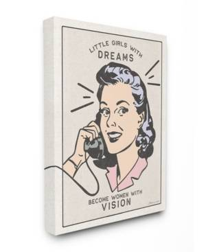 """Stupell Industries The Kids Room by Stupell Little Girls with Dreams Retro Designed Woman with Phone Canvas Wall Art, 16"""" L x 20"""" H  - Multi"""