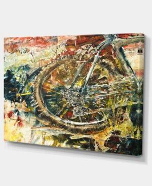 "Design Art Designart Mountain Bike Oil Painting Abstract Canvas Artwork - 32"" X 16""  - Red"