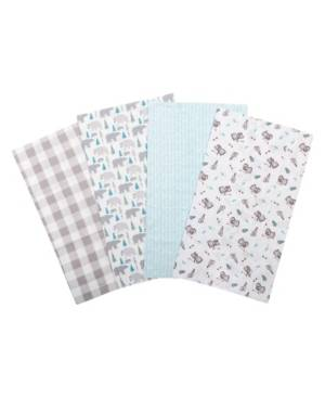 Trend Lab Bear Print Flannel Burp Cloth 4-Pack Bedding  - Multi