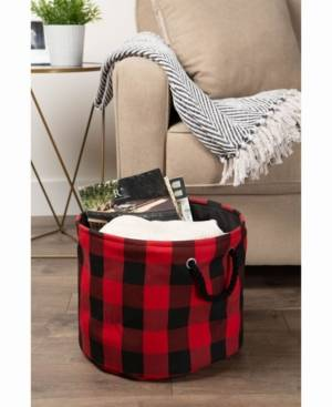 "Design Imports 16"" Buffalo Check Round Storage Bin  - Red"