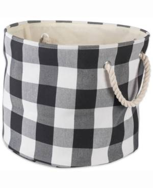 Design Imports Storage Bin Buffalo Check, Round  - Black