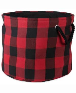 Design Imports Storage Bin Buffalo Check, Round  - Red