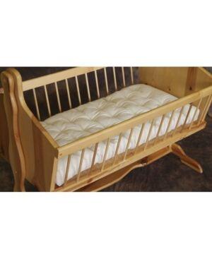 Holy Lamb Organics Natural Wool Bassinet Mattress Encased in Organic Cotton Canvas Bedding  - Natura