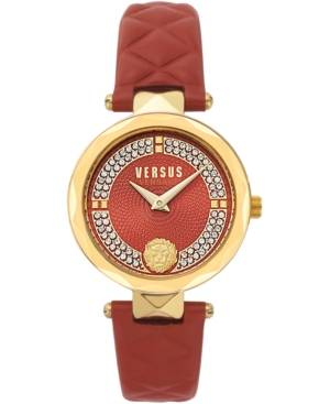 Versace Versus by Versace Women's Covent Garden Petite Red Leather Strap Watch 32mm  - Ip Yellow Gold