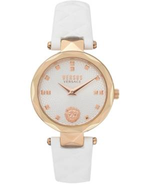Versace Versus by Versace Women's Covent Garden Petite White Leather Strap Watch 32mm  - Ip Rose Gold