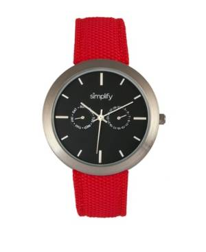 Simplify Quartz The 6100 Black Dial, Canvas-Overlaid Polyurethane Red Strap Watch 43mm  - Red