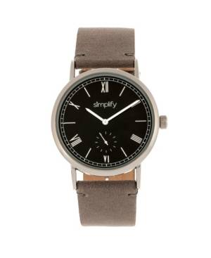Simplify Quartz The 5100 Black Dial, Genuine Charocoal Leather Watch 40mm  - Charcoal