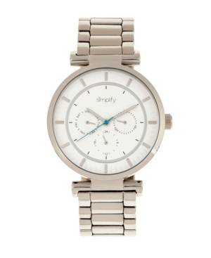 Simplify Quartz The 4800 Silver Case, White Dial, Alloy Watch 44mm  - Silver