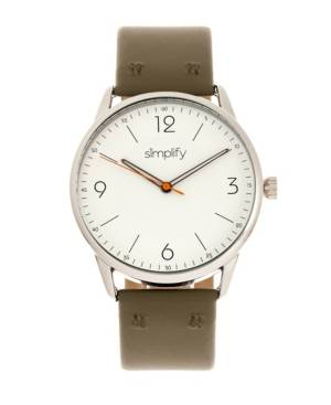 Simplify Quartz The 6300 White Dial, Genuine Olive Leather Watch 41mm  - Olive