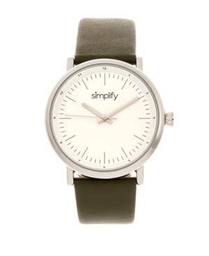 Simplify Quartz The 6200 White Dial, Genuine Olive Leather Watch 39mm  - Olive