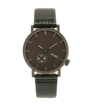 Simplify Quartz The 3600 Charcoal Dial, Genuine Green Leather Watch 40mm  - Forest Gre