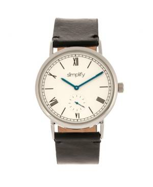 Simplify Quartz The 5100 White Dial, Genuine Black Leather Watch 40mm  - Black