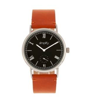 Simplify Quartz The 5100 Black Dial, Genuine Camel Leather Watch 40mm  - Camel
