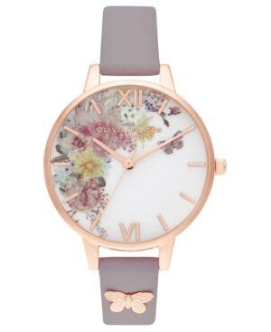 Olivia Burton Women's Enchanted Garden Gray Lilac Leather Strap Watch 34mm  - Grey Lilac