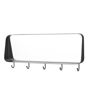 "Walker Edison 30"" Rectangle Rounded Corner Mirror with Hooks  - Black"